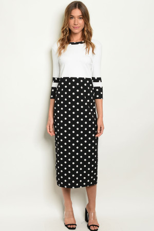 C82-A-7-D3818 IVORY BLACK W/ DOTS DRESS 2-2-2-1