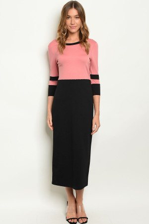 C89-A-5-D3778 SALMON BLACK DRESS 2-2-2