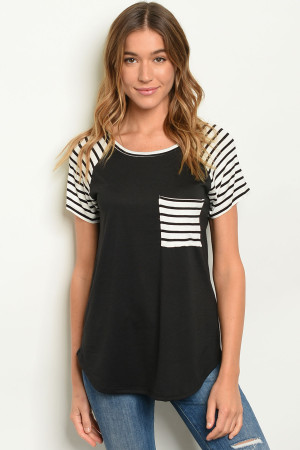 C25-B-2-T21942 BLACK STRIPES TOP 2-2-2