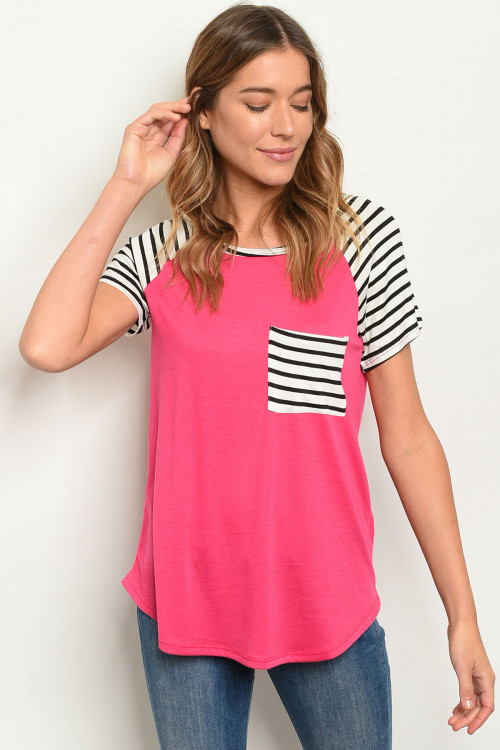 C25-B-2-T21942 FUCHSIA STRIPES TOP 2-2-2