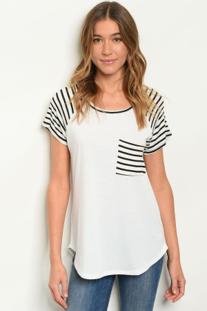 C23-B-3-T21942 IVORY STRIPES TOP 2-2-2