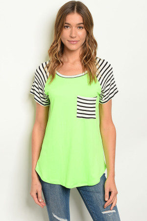 C23-B-3-T21942 NEON GREEN STRIPES TOP 2-2-2