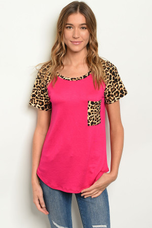 C15-B-2-T2194 FUCHSIA ANIMAL PRINT TOP 2-2-2