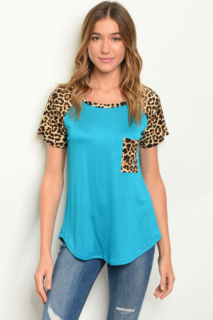 C15-B-3-T2194 TURQUOISE ANIMAL PRINT TOP 2-2-2