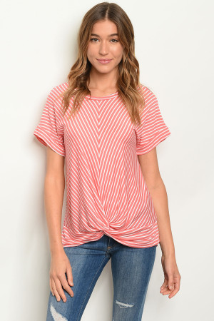 C9-B-2-T20931 CORAL STRIPES TOP 2-2-2