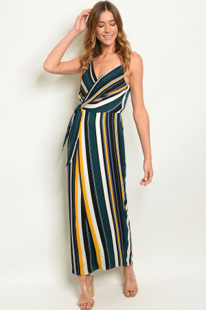 S9-11-3-D1612 TEAL STRIPES DRESS 3-2-1