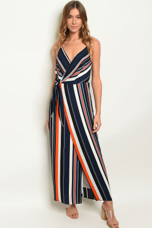 S9-3-5-D1612 NAVY STRIPES DRESS 3-2-1