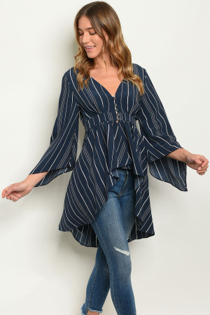 S10-14-3-T5530 NAVY STRIPES TOP 3-2-1