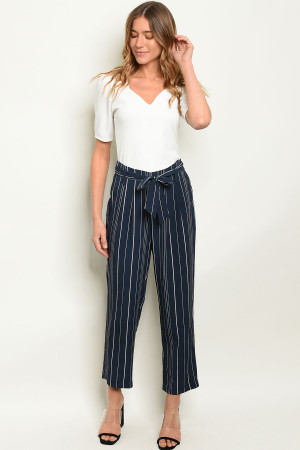 S9-6-5-P3016 NAVY STRIPES PANTS 3-2-1