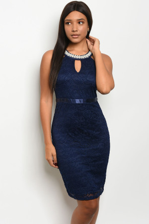 SA3-000-4-D58561 NAVY W/ PEARLS DRESS 2-2-2