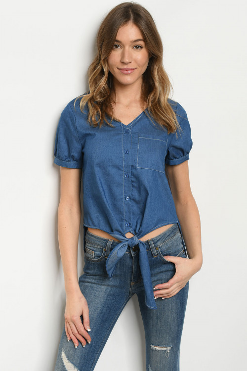 S12-5-2-T10409 DARK DENIM TOP 2-2-2
