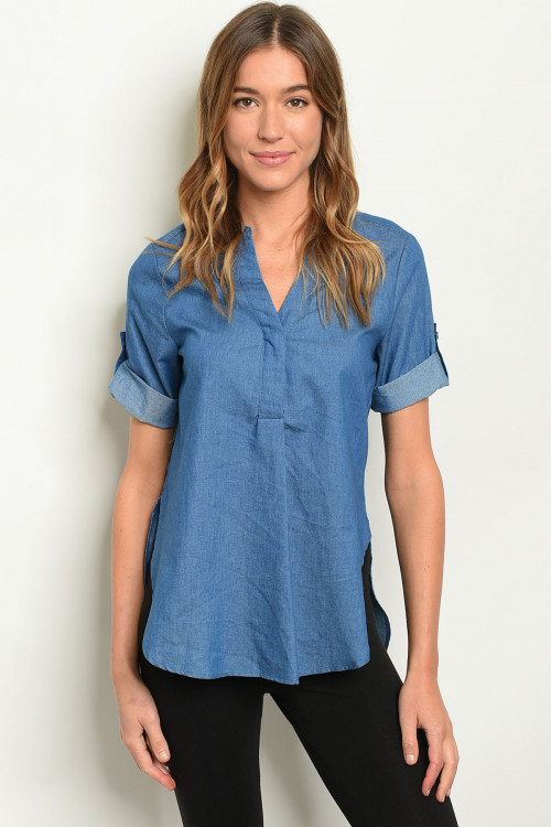 S12-2-1-T10359 DARK BLUE DENIM TOP 1-2-2-1