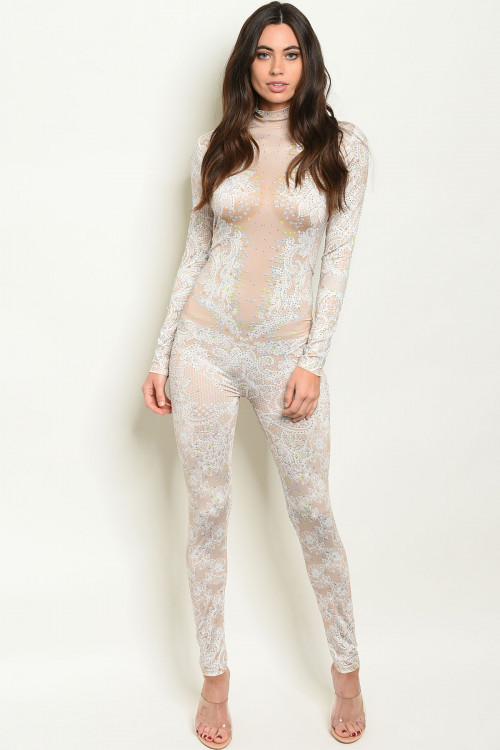 S12-7-1-J40895 NUDE W/ STONES JUMPSUIT 2-2-2 ***WARNING: California Proposition 65***