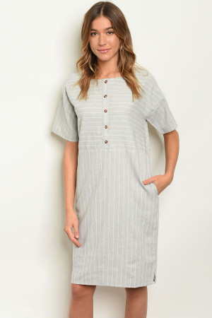 S8-4-3-D1594 GREY STRIPES DRESS 3-2-1