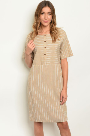 S8-5-3-D1594 TAUPE STRIPES DRESS 3-2-1