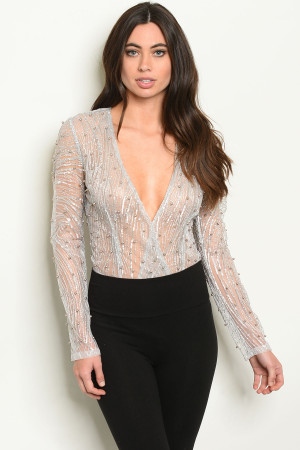 S8-6-2-B20801 SILVER W/ PEARLS BODYSUIT 2-2-2 ***WARNING: California Proposition 65***