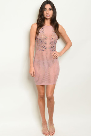 S12-6-2-D11203 MAUVE W/ STONES DRESS 2-2-2 ***WARNING: California Proposition 65***