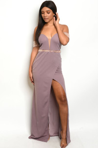 S6-9-2-D18155 MAUVE WITH STONES DRESS 2-2-2  ***WARNING: California Proposition 65***