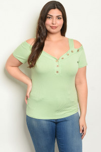 C99-B-2-T19071X SAGE PLUS SIZE TOP 2-2-2