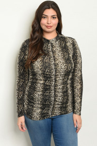 S17-2-4-T1946X GREY ANIMAL PRINT PLUS SIZE TOP 1-1-1