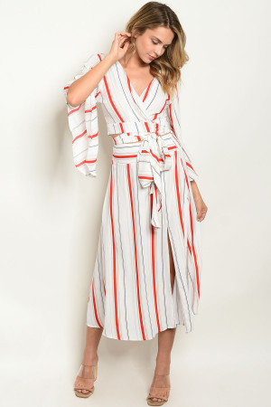S11-4-2-SET1749 OFF WHITE RED STRIPES TOP & SKIRT SET 3-2-1