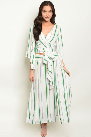 S11-4-2-SET1749 OFF WHITE GREEN STRIPES TOP & SKIRT SET 3-2-1