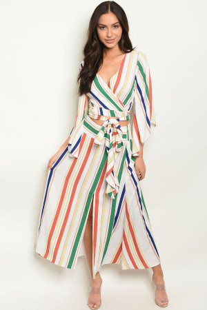 S18-10-2-SET1749B OFF WHITE MULTY STRIPES TOP & SKIRT SET 4-2-1