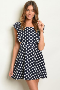 S11-14-4-O8569 NAVY WHITE W/ DOTS OVERALLS 2-2-2