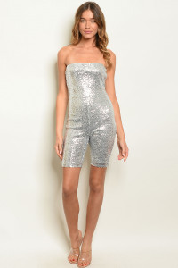 S23-12-5-R21835 SILVER W/ SEQUINS ROMPER 3-2-1 ***WARNING: California Proposition 65***