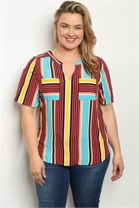 S23-11-5-T51771X BLACK MULTY STRIPES PLUS SIZE TOP 2-2-2