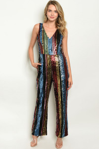 S12-3-1-J1644 MULTY W/ SEQUINS JUMPSUIT 2-2-2 ***WARNING: California Proposition 65***