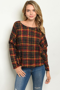 S17-9-3-T6867 RED BLACK CHECKERS TOP 1-1-1