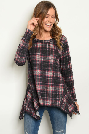 S25-2-4-T6910 BLACK PINK CHECKERS TOP 1-2-2-1