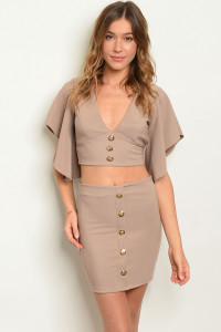 C9-B-3-SET1374 KHAKI TOP & SKIRT SET 2-2-2