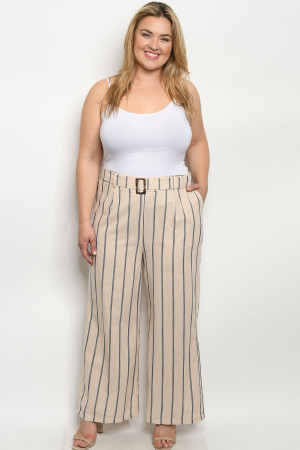 S4-3-3-P4366X KHAKI NAVY STRIPES PLUS SIZE PANTS 2-2-2