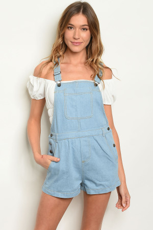 S14-12-2-O80975 LIGHT BLUE DENIM OVERALLS 1-2