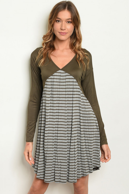C20-A-3-D20404 OLIVE GREY STRIPES DRESS 2-2-2