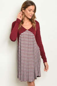 C22-A-2-D20404 BURGUNDY GREY STRIPES DRESS 2-2-2