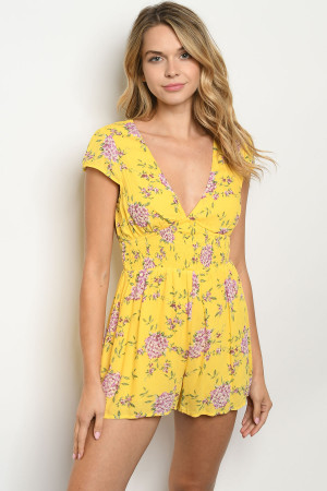 S9-6-1-R4247 YELLOW FLORAL ROMPER 3-2-1