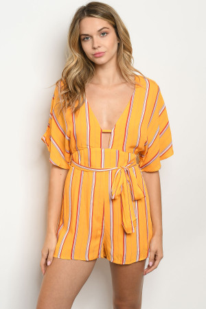 S12-9-2-R4283 YELLOW STRIPES ROMPER 3-2-1