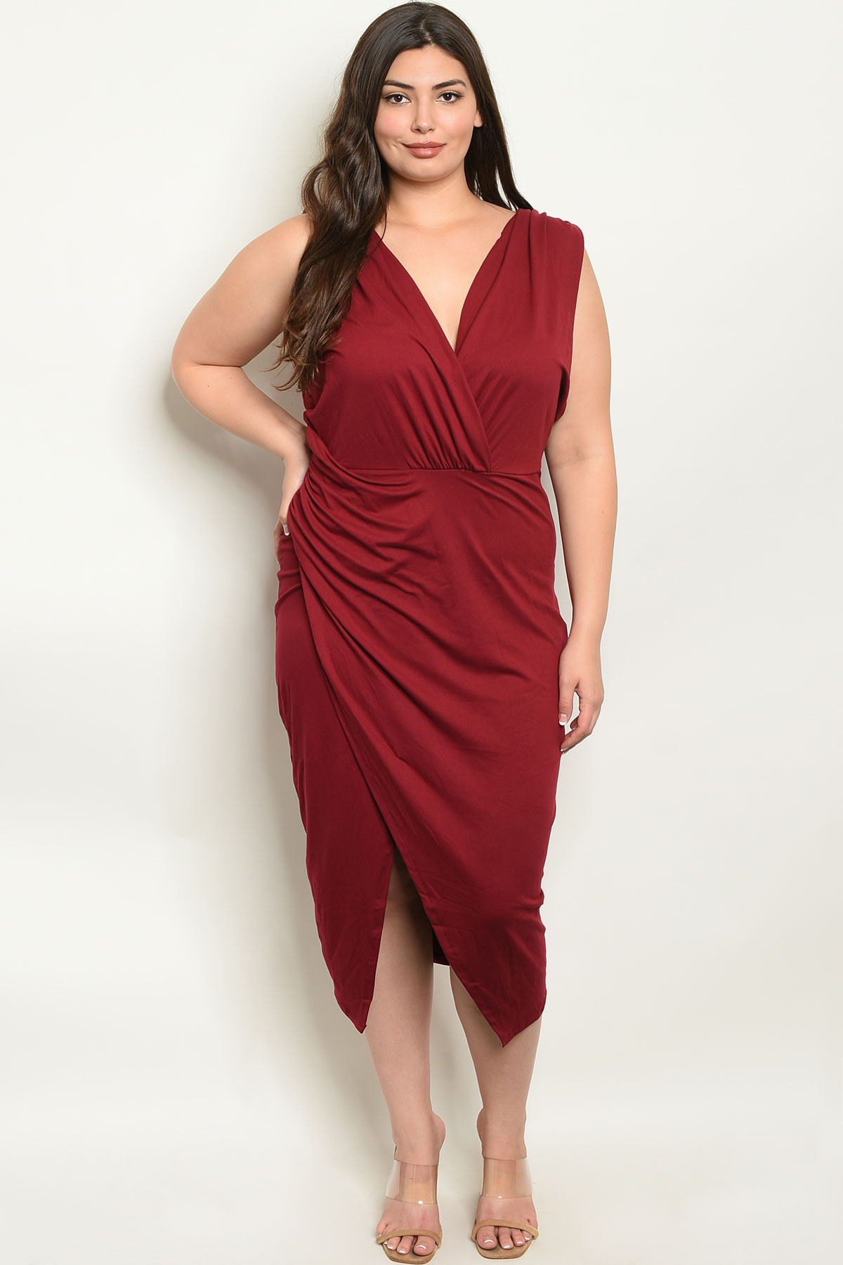 S13-11-2-D7997X BURGUNDY PLUS SIZE DRESS 1-1-2-2