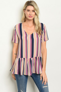C62-B-1-T91487 PURPLE MULTY STRIPES TOP 1-2