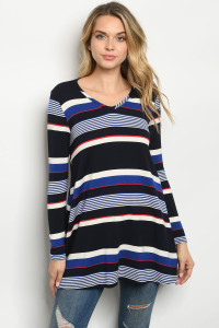 C68-A-3-D23314 NAVY IVORY STRIPES DRESS 3-2-1