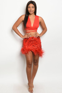 S9-13-1-SET10739 RED W/ SEQUINS TOP & SKIRT SET 2-2-2  ***WARNING: California Proposition 65***