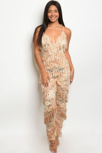 S15-6-1-J95723 NUDE W/STUDS JUMPSUIT 2-2-2 ***WARNING: California Proposition 65***