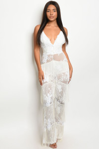 S21-2-2-J9572 WHITE W/ SEQUINS JUMPSUIT 2-2-2 ***WARNING: California Proposition 65***
