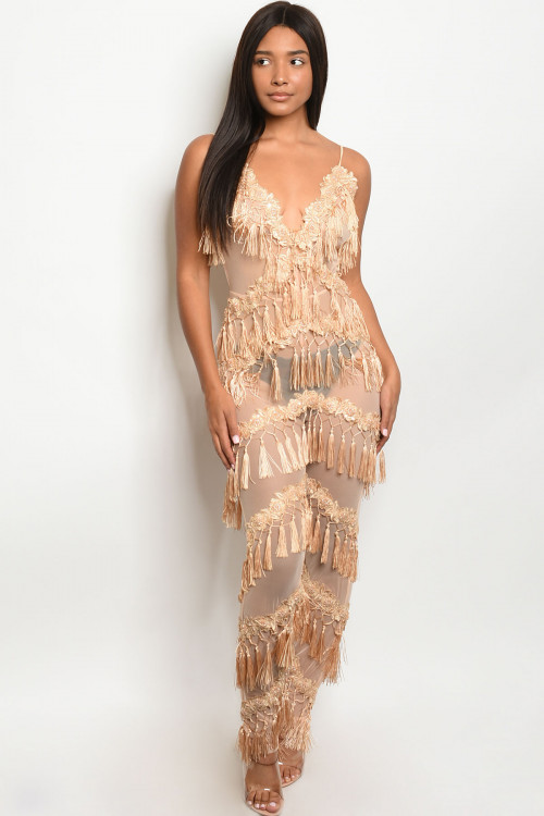 S10-10-1-J95722 NUDE W/ STUDS JUMPSUIT 2-2-2 ***WARNING: California Proposition 65***