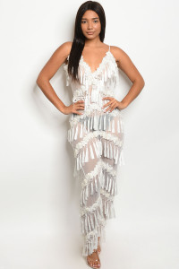 S10-8-1-J95722 WHITE W/ STUDS JUMPSUIT 2-2-2 ***WARNING: California Proposition 65***