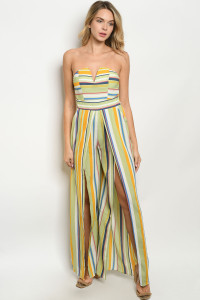 S14-8-3-J71569 GREEN MULTY STRIPES JUMPSUIT 2-2-2