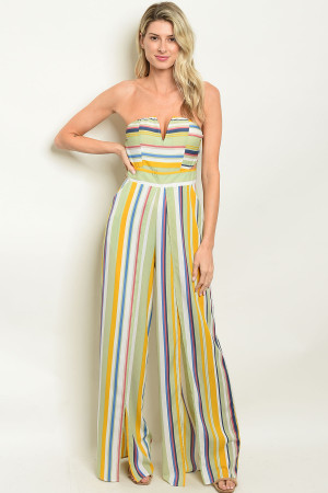 S10-20-2-J71569 GREEN MULTY STRIPES JUMPSUIT 3-3-2